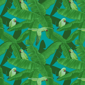 Tropical Green Parrot Birds On Banana Leaves - Turquoise Small Size