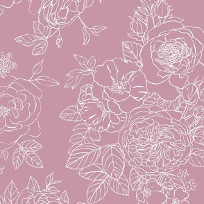 Light Romantic Outline Floral rose shadow mix