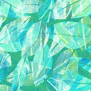 Tropical Abstract Leaves Teal 150