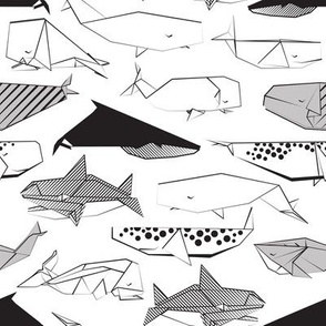 Origami Sea // small scale // white background black and white paper whales