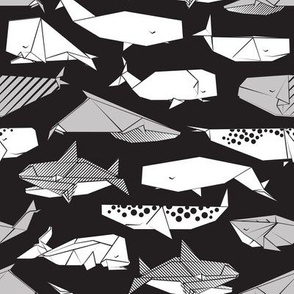 Origami Sea // small scale // black background black and white paper whales