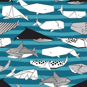 Origami Sea // small scale // teal nautical stripes background black and white paper whales