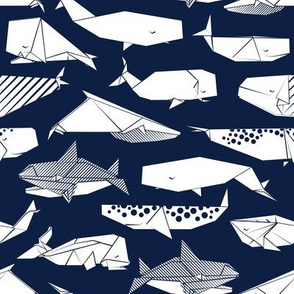 Origami Sea // small scale // navy blue background white paper whales
