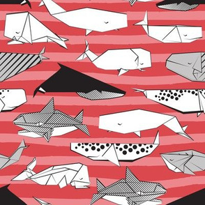 Origami Sea // small scale // red nautical stripes background black and white paper whales