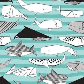 Origami Sea // small scale // aqua nautical stripes background black and white paper whales
