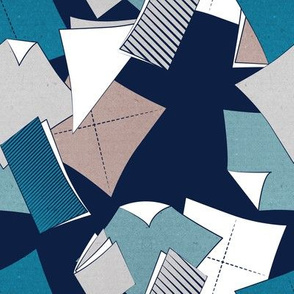 Origami papers to coordinate with some of my origami designs // navy blue background teal grey taupe and white papers