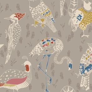 Geo Birds (folksy grey) LRG
