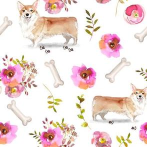 """9"""" corgi floral fabric - dog fabric, corgi fabric, pet fabric, boone fabric, corgi fun fabric - white"""