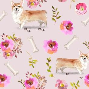 """9"""" corgi florals pet dog welsh corgi pembroke corgi flowers girls nursery pastel pink vintage spring florals dog"""