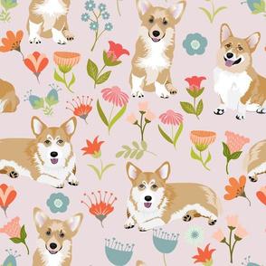 "12"" corgi floral fabric - dog fabric, corgi fabric, pet fabric, corgi fun fabric - pink"