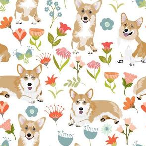 """9"""" corgi floral fabric - dog fabric, corgi fabric, pet fabric, corgi fun fabric - white"""