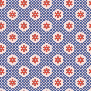 1950s Style Hexagon Patchwork Polka Dot
