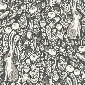 hare linocut fabric - botanical linocut wood block fabric, block print fabric, andrea lauren design - charcoal 555555
