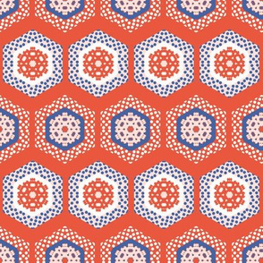 1950s Style Hexagon Patchwork Dot Seamless Pattern