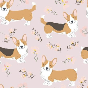 "9"" corgi floral fabric - dog fabric, corgi fabric, pet fabric, corgi fun fabric - pink"