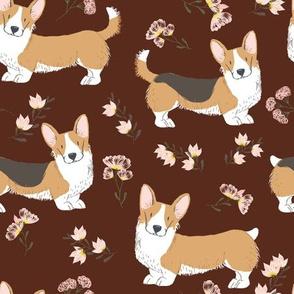 "9"" corgi floral fabric - dog fabric, corgi fabric, pet fabric, corgi fun fabric - brown"