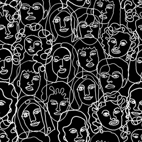 LARGE face fabric - black and white line drawing fabric, continuous line fabric, figure drawing fabric, art school fabric, women fabric, face fabric -black