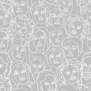 face fabric - black and white line drawing fabric, continuous line fabric, figure drawing fabric, art school fabric, women fabric, face fabric - grey