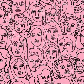 face fabric - black and white line drawing fabric, continuous line fabric, figure drawing fabric, art school fabric, women fabric, face fabric -pink