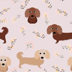 """9"""" dachshund floral fabric - dog fabric, dachshund fabric, pet fabric, dachshund fun fabric - pink"""