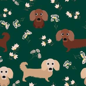 """9"""" dachshund floral fabric - dog fabric, dachshund fabric, pet fabric, dachshund fun fabric - green"""