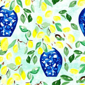 19-07v Lemon Tree Blue Vase on Sky