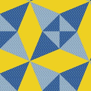 Crossed Canoes in Trendy 1930s Colors in Blue and Yellow