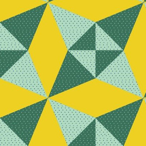 Crossed Canoes in Trendy 1930s Colors in Green and Yellow