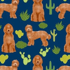 labradoodle fabric - apricot doodle fabric, dog fabric, dogs fabric, cactus fabric, dog design - navy