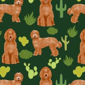 labradoodle fabric - apricot doodle fabric, dog fabric, dogs fabric, cactus fabric, dog design - dark green