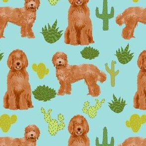 labradoodle fabric - apricot doodle fabric, dog fabric, dogs fabric, cactus fabric, dog design - light blue