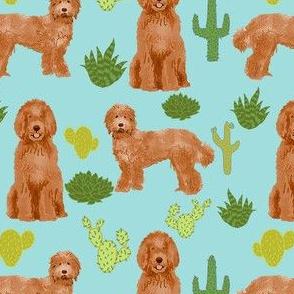 labradoodle fabric - apricot doodle fabric, dog fabric, dogs fabric, cactus fabric, dog design - light blue