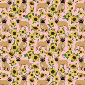 SMALL - French Bulldog frenchie sunflowers floral dog silhouette dog breed fabric