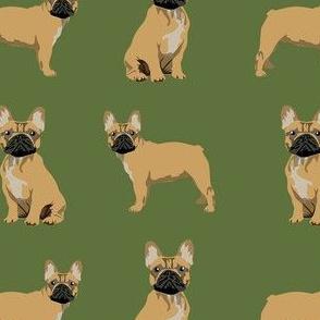 frenchie fabric - fawn french bulldog fabric, dog fabric, dogs fabric, cute dog fabric - green