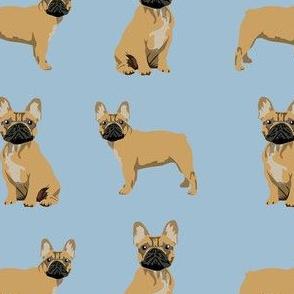 frenchie fabric - fawn french bulldog fabric, dog fabric, dogs fabric, cute dog fabric - blue
