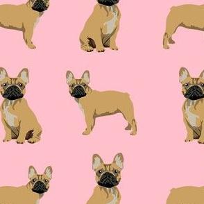 frenchie fabric - fawn french bulldog fabric, dog fabric, dogs fabric, cute dog fabric - pink