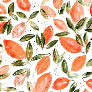 Orange lemons • surreal watercolor pattern for kitchen