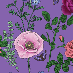 Botanical Floral Fabric - Purple