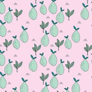 Little lemon fruit garden organic green farmer's market theme lime mint pink