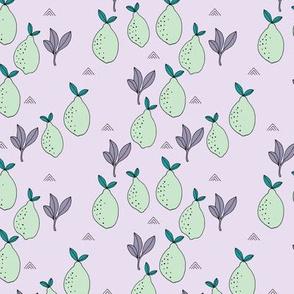 Little lemon fruit lemonade garden organic green farmer's market theme lime mint lilac