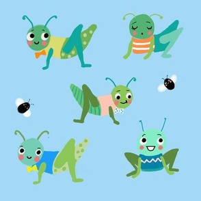 Grasshoppers on blue