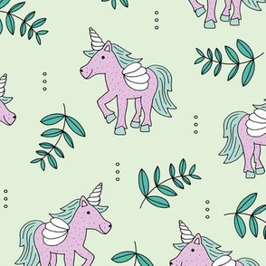 Sweet Unicorn lush summer jungle cute kawaii horses fantasy design mint green lilac