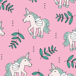 Sweet Unicorn lush summer jungle cute kawaii horses fantasy design pink mint