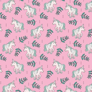 Sweet Unicorn lush summer jungle cute kawaii horses fantasy design pink mint SMALL