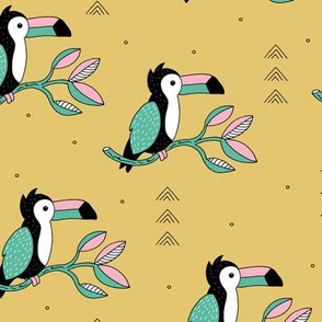 Quirky jungle toucan birds sweet wild life rainforest animals illustration and leaves summer mustard yellow pink blue