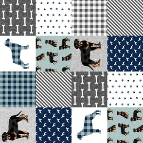 rottweiler cheater quilt fabric - dog quilt, dog fabric, pet friendly, buffalo plaid, buffalo check, fabric -  navy