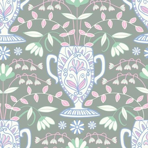 Greek Vase Floral Botanical Gray White Pastel Green Blue Pink