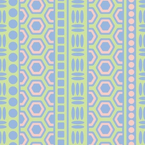 Greek Geometric Abstract Striped Pastel Blue Pink Green