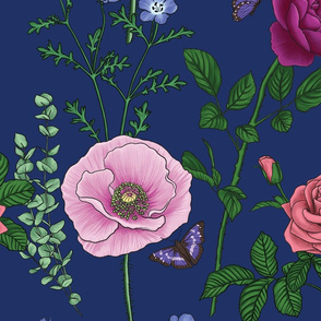 Botanical Flower Pattern - Dark Blue