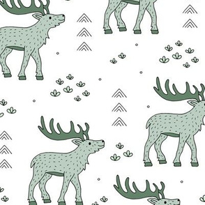 Little moose and arrows wild life mountain animals woodland design mint white